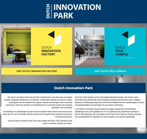 Dutch Innovation Park | Dé plek waar innovaties worden toegepast